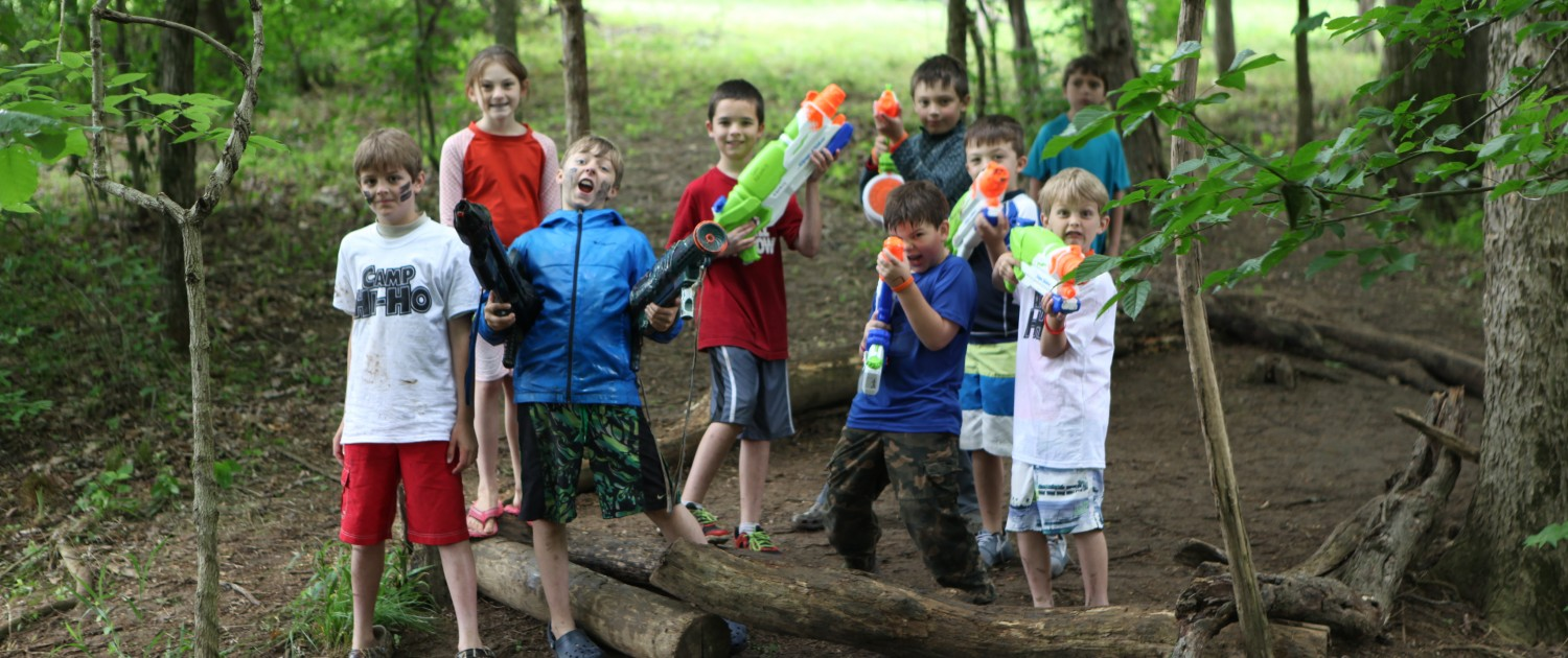 water gun fight at the fort